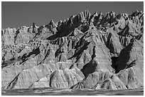 The Wall raising above prairie. Badlands National Park, South Dakota, USA. (black and white)