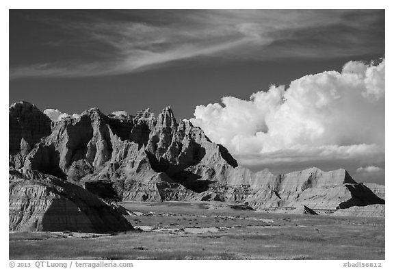 Badlands and afternoon clouds, Stronghold Unit. Badlands National Park (black and white)