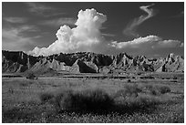 Cedar Butte, South Unit. Badlands National Park ( black and white)