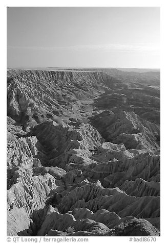 Looking east towards the The Stronghold table, South unit, morning. Badlands National Park (black and white)