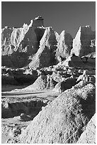 Erosion landforms at Cedar Pass, early morning. Badlands National Park, South Dakota, USA. (black and white)