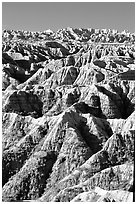 Badlands from Windows overlook, morning. Badlands National Park, South Dakota, USA. (black and white)