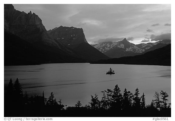 St Mary Lake and Wild Goose Island, sunset. Glacier National Park (black and white)