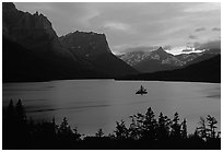 St Mary Lake and Wild Goose Island, sunset. Glacier National Park ( black and white)