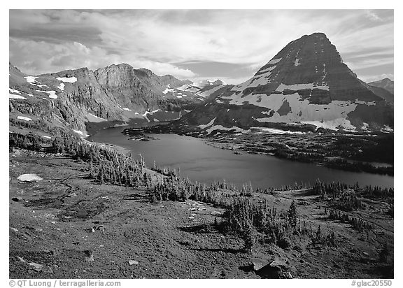 Hidden lake and peak. Glacier National Park (black and white)