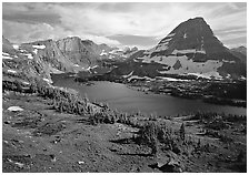 Hidden lake and peak. Glacier National Park ( black and white)