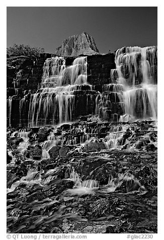 Waterfall at hanging gardens, Logan pass. Glacier National Park (black and white)