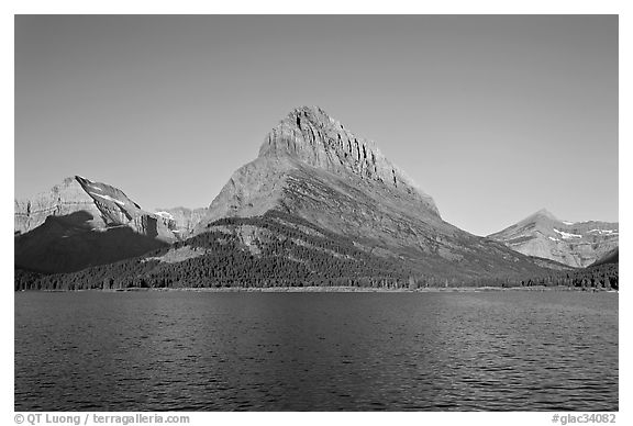 Swiftcurrent Lake, and Grinnell Point, Many Glacier. Glacier National Park (black and white)