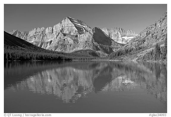 Lake Josephine and Mt Gould, morning. Glacier National Park (black and white)