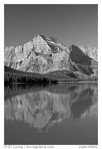 Mt Gould reflected in Lake Josephine, morning. Glacier National Park (black and white)