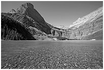 Pebbles in Grinnell Lake, Angel Wing, and the Garden Wall. Glacier National Park, Montana, USA. (black and white)