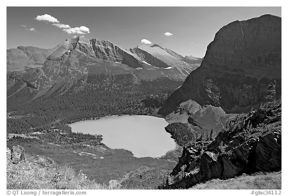 Grinnell Lake, Angel Wing, and Allen Mountain, afternoon. Glacier National Park (black and white)