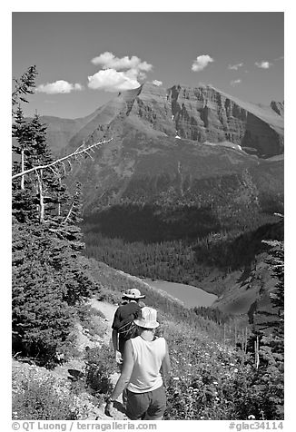 Hiking down the Grinnell Glacier trail, afternoon. Glacier National Park (black and white)