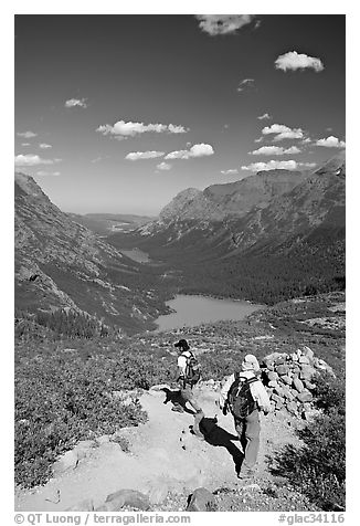 Switchback on trail, with Grinnel Lake and Josephine Lake in the background. Glacier National Park (black and white)