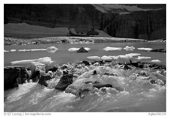 Outlet stream of glacial lake. Glacier National Park (black and white)