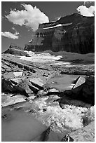 Stream, Mt Gould, and Grinnell Glacier, afternoon. Glacier National Park, Montana, USA. (black and white)