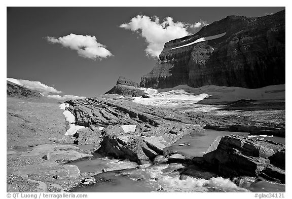 Outlet stream, Grinnell Glacier and Garden Wall. Glacier National Park (black and white)