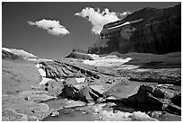 Outlet stream, Grinnell Glacier and Garden Wall. Glacier National Park ( black and white)