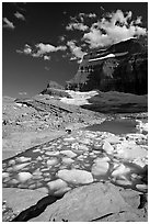 Icebergs in Upper Grinnel Lake, with glacier and Mt Gould in background. Glacier National Park, Montana, USA. (black and white)