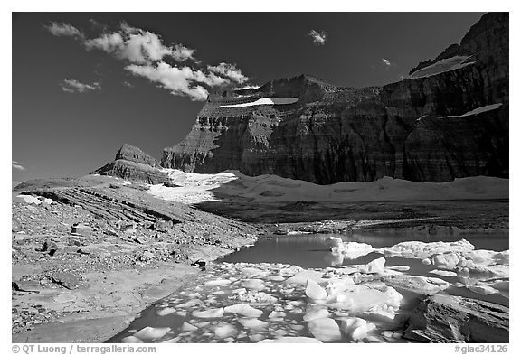 Upper Grinnell Lake with icebergs, late afternoon. Glacier National Park (black and white)