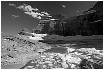 Upper Grinnell Lake with icebergs, late afternoon. Glacier National Park ( black and white)