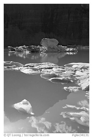Garden wall reflection and icebergs in Upper Grinnell Lake. Glacier National Park (black and white)