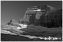 Garden wall above Upper Grinnell Lake and Glacier, late afternoon. Glacier National Park, Montana, USA. (black and white)