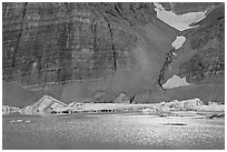 Ripples on Upper Grinnel Lake, with icebergs and glacier. Glacier National Park ( black and white)