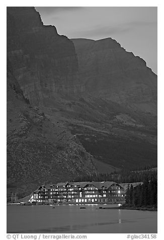 Many Glacier lodge and Swiftcurrent Lake at dusk. Glacier National Park (black and white)