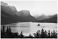 St Mary Lake, Lewis Range, sunrise. Glacier National Park, Montana, USA. (black and white)