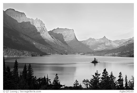 Black and white picture photo st mary lake wild goose island sunrise glacier national park