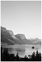 St Mary Lake and Wild Goose Island at sunrise. Glacier National Park ( black and white)