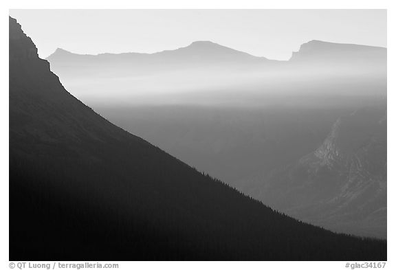 Ridge and light seen from Logan Pass. Glacier National Park (black and white)