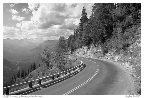 Curve on Going to the Sun road, afternoon. Glacier National Park (black and white)