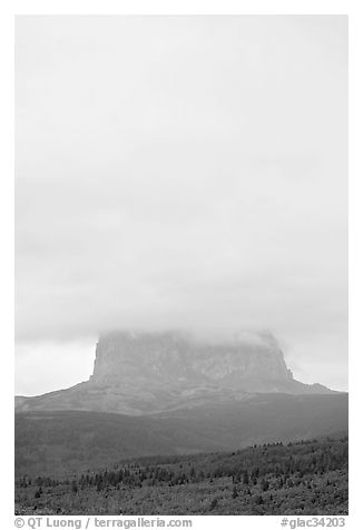 Cloud-covered Chief Mountain. Glacier National Park (black and white)