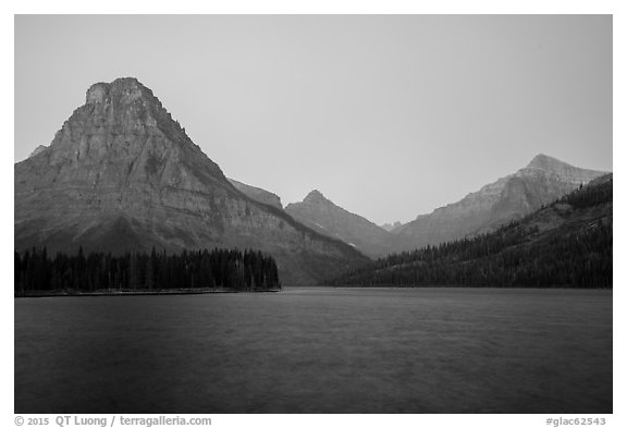 Sinopah Mountain above Two Medicine Lake at dawn. Glacier National Park (black and white)