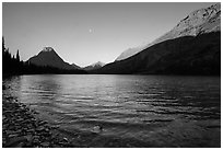 Two Medicine Lake at sunrise. Glacier National Park ( black and white)