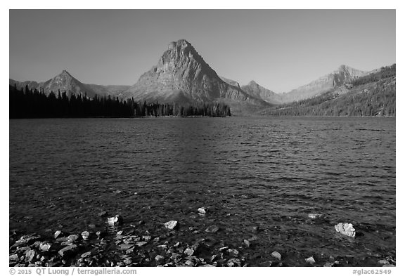 Shoreline and mountains, Two Medicine Lake. Glacier National Park (black and white)
