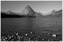 Shoreline and mountains, Two Medicine Lake. Glacier National Park ( black and white)