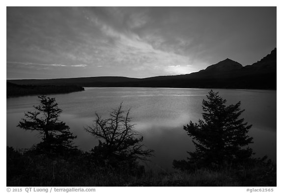 Colorful sunrise over Saint Mary Lake. Glacier National Park (black and white)