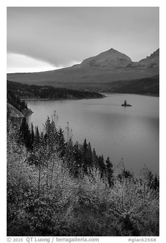 Saint Mary Lake and Wild Goose Island in autumn. Glacier National Park (black and white)