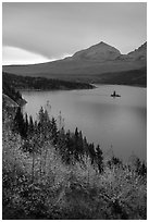 Saint Mary Lake and Wild Goose Island in autumn. Glacier National Park ( black and white)