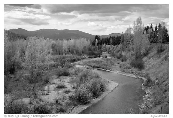 North Fork of Flathead River in autumn. Glacier National Park (black and white)