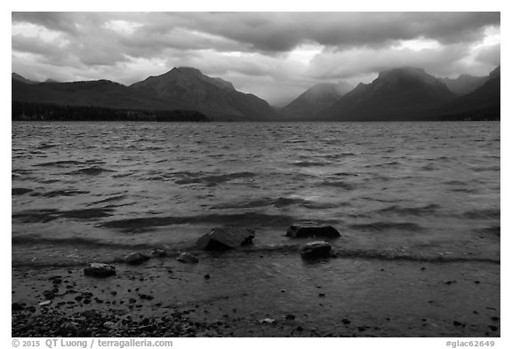 Waves and clouds, Lake McDonald. Glacier National Park (black and white)