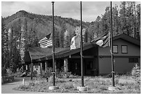 Apgar visitor center. Glacier National Park ( black and white)