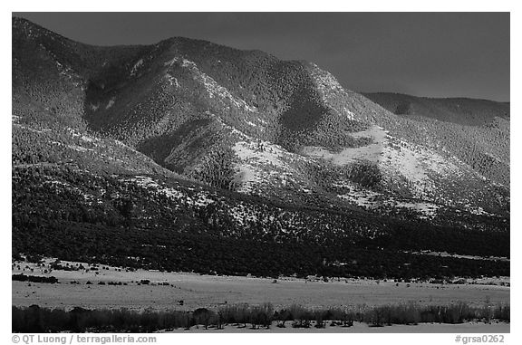 Sunset over mountains. Great Sand Dunes National Park and Preserve (black and white)