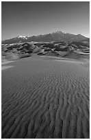Sand ripples and Sangre de Christo mountains in winter. Great Sand Dunes National Park, Colorado, USA. (black and white)