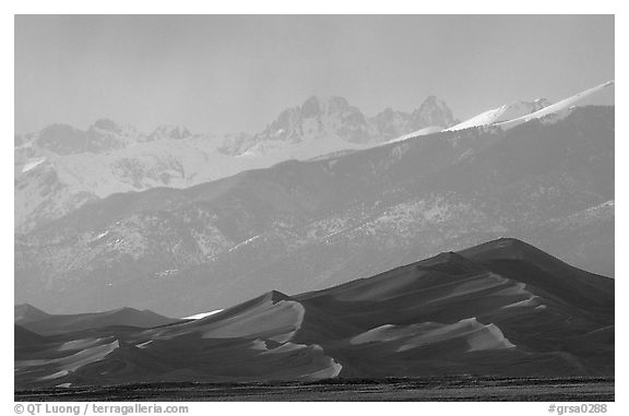 Distant view of the dune field and Sangre de Christo mountains at sunset. Great Sand Dunes National Park and Preserve (black and white)