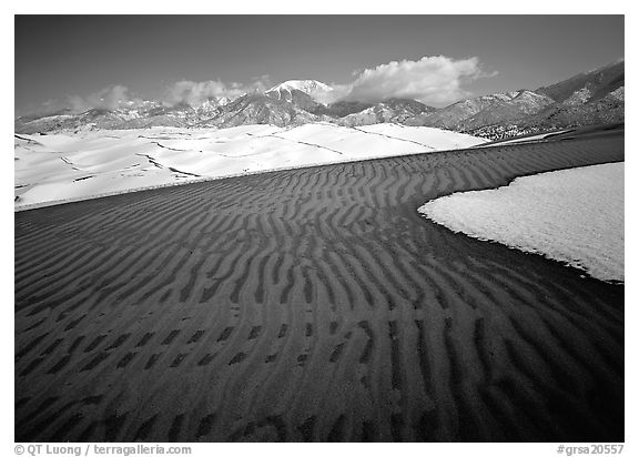 Ripples in partly snow-covered sand dunes. Great Sand Dunes National Park (black and white)
