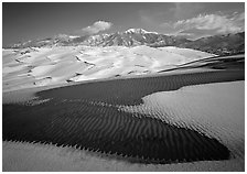 Patch of sand, snow-covered dunes, Sangre de Christo mountains. Great Sand Dunes National Park ( black and white)
